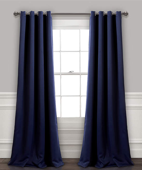 Navy Insulated Blackout Curtain Panel - Set of Two