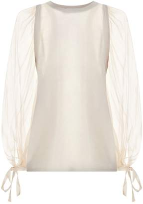 Amanda Wakeley Cashmere Sheer Sleeve Sweater