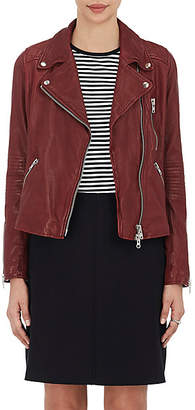 Barneys New York Women's Leather Moto Jacket - Burgundy