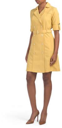 Double Breasted Sharkskin Shirt Dress