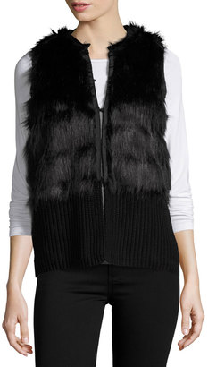 Vince Camuto Faux-Fur Sweater Vest, Rich Black $99 thestylecure.com