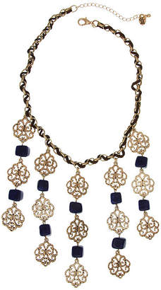 Erica Lyons October El Navy Gold Womens Statement Necklace