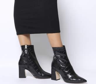 7c52aaf553c Office Alto Pointed Block Heels Black Croc Leather