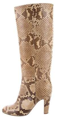 Sergio Rossi Snakeskin Knee-High Boots