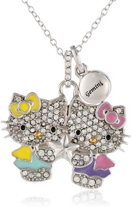 Hello Kitty Zodiac Sterling Pave Crystal Enamel Full Body Gemini Pendant Necklace, 18""