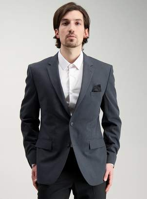 Tu Charcoal Textured Tailored Fit Suit Jacket