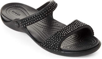 Crocs Black Cleo Diamante Slide Sandals
