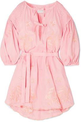 Innika Choo Smocked Embroidered Linen Dress - Pink
