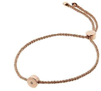 Monica Vinader Rose Gold Vermeil Linear Solo Diamond Cord Friendship Bracelet