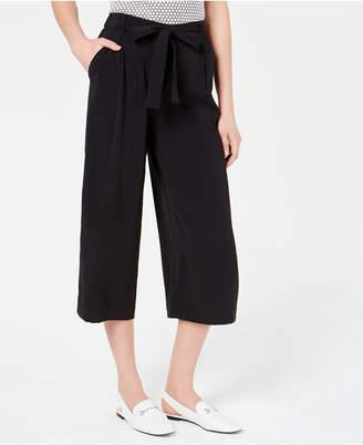 Maison Jules Solid Wide-Leg Tie-Front Capri Pants