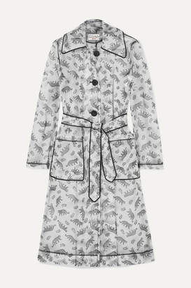 HVN Jen Piped Printed Matte-pu Trench Coat - White