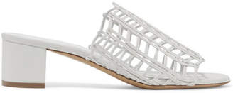 Mansur Gavriel Woven Leather Mules - White