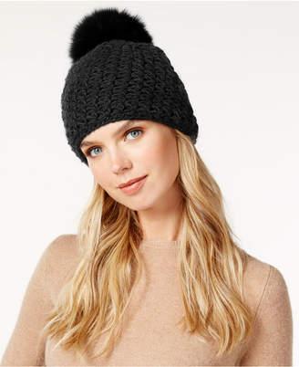 Surell Star Stitched Knit Fox Fur Pom Hat