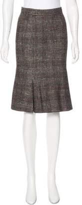 Saint Laurent Silk-Blend Knee-Length Skirt w/ Tags