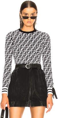 Fendi Logo Print Viscose Sweater
