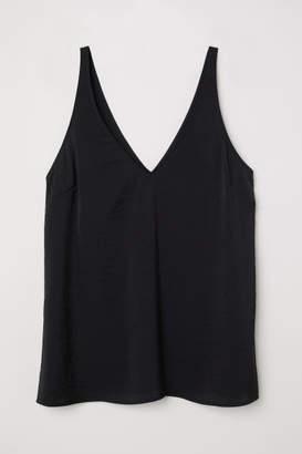 H&M V-neck Satin Camisole Top - Black