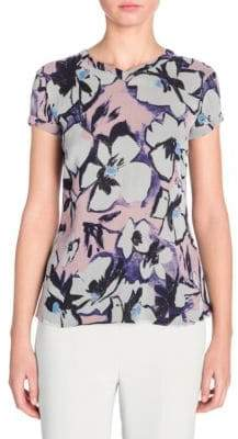 Giorgio Armani Short-Sleeve Floral Chiffon T-Shirt