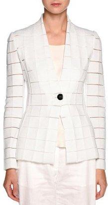 Giorgio Armani Sheer-Cutout One-Button Blazer, White $3,695 thestylecure.com