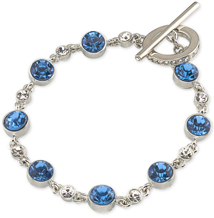 Carolee Carolee Silver-Tone Blue & Clear Crystal Toggle Bracelet