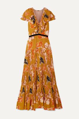 Johanna Ortiz Golden Blossom Velvet-trimmed Ruffled Pleated Crepe De Chine Maxi Dress - Mustard