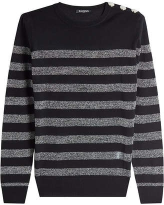 Balmain Striped Pullover with Embossed Buttons and Metallic Thread