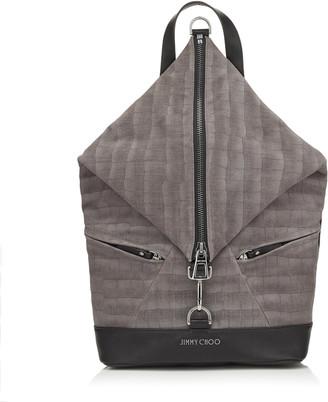 Jimmy Choo FITZROY Smoke Crocodile Print Denim Leather Backpack