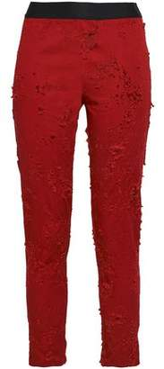 Ann Demeulemeester Cropped Distressed Stretch-Cotton Twill Skinny Pants