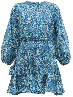 Rhode Resort Ella Printed Cotton Mini Dress - Womens - Blue Print