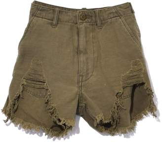 R 13 Distressed Camp Short in Fatigue Olive