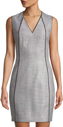 T Tahari Lakira Herringbone Piped Sleeveless Dress