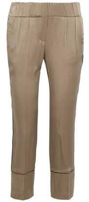 Brunello Cucinelli Cropped Satin-Crepe Straight-Leg Pants
