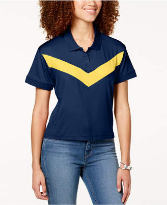 Almost Famous Juniors' Cropped Chevron-Stripe Polo