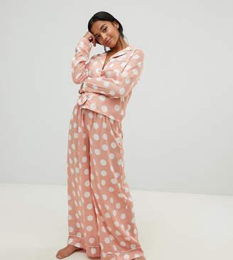 Asos DESIGN Petite polka dot pyjama shirt and wide leg set 100% Modal