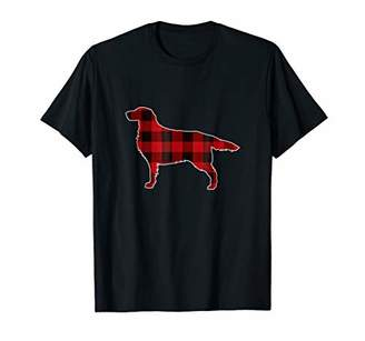 Golden Retriever Christmas T-Shirt Dog Buffalo Plaid Tee
