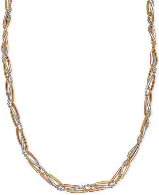Macy's Tri-Color Bar & Bead Link Collar Necklace in 14k Gold, White Gold & Rose Gold