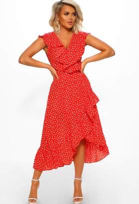 Pink Boutique Lisbon Sun Red Polka Dot Frill Wrap Midi Dress