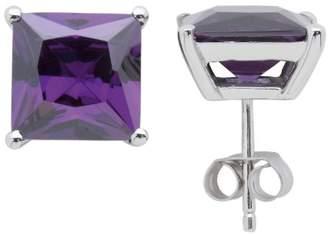Burgmeister Jewelry Women's Stud Earrings Rhodium-Plated 925 Sterling Silver Purple Cubic Zirconia JHE1022 Pump
