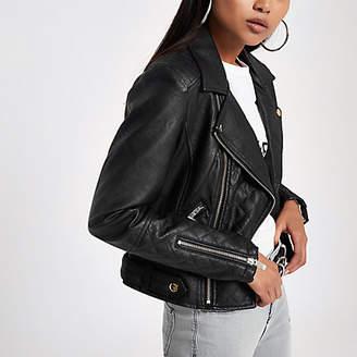 River Island Petite black faux leather biker jacket