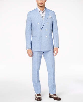 Tallia Orange Men's Modern-Fit Blue Chambray Double-Breasted Suit