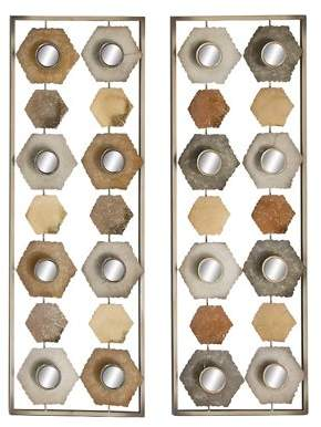 Benzara Exceptional Metal Mirror Wall Panel 2 Assorted
