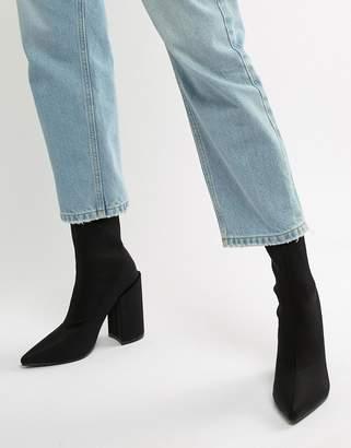 Public Desire Salt Black Block Heel Sock Boots