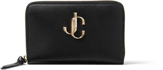 Jimmy Choo CHRISTIE Black Calf Leather Medium Zip-Around Wallet