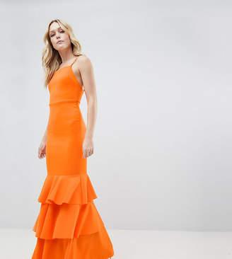 Asos Tall DESIGN Tall square neck scuba maxi dress with ruffle hem