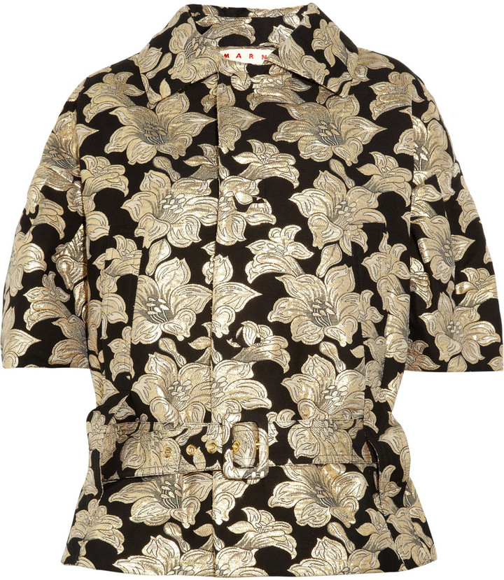 Marni Floral cotton-blend brocade belted jacket