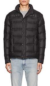Just Cavalli MEN'S FAUX-LEATHER-YOKE DOWN PUFFER JACKET-BLACK SIZE 52 EU