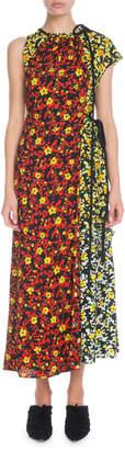 Proenza Schouler Sleeveless Mixed Poppy Wildflower-Print Asymmetric Long Dress
