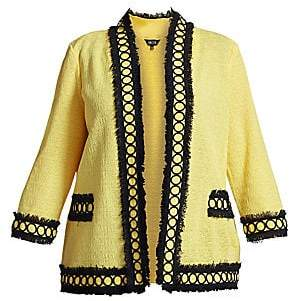 Misook Misook, Plus Size Misook, Plus Size Women's Fringe Trim Tweed Jacket