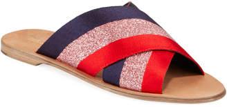 Diane von Furstenberg Bailie Ribbon Crisscross Flat Slide Sandals