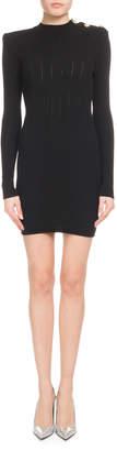 Balmain Long-Sleeve High-Neck Ribbed Dress with Shoulder Button