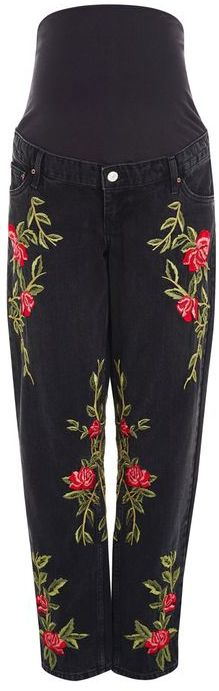 TopshopTopshop Maternity rose embroidered mom jeans
